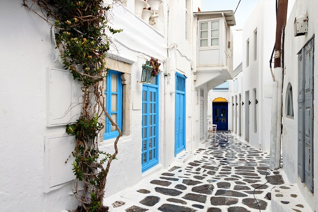 Traditional streets of Mykonos island in Greece